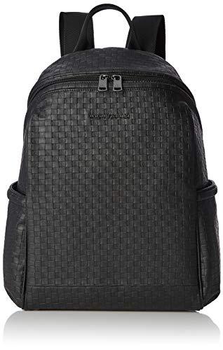 Armani Exchange - Metal Logo Patch Backpack, Mochilas Hombre, Negro (Black Check),...