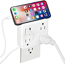Cruise Power Strip Non Surge Protector & Ship Approved, 3-Outlet Extender Wall Mount with 2 USB Outlets , Widely Spaced Multi Plug Wall Tap USB Wall Charger for Cruise Ship Travel Home Office.