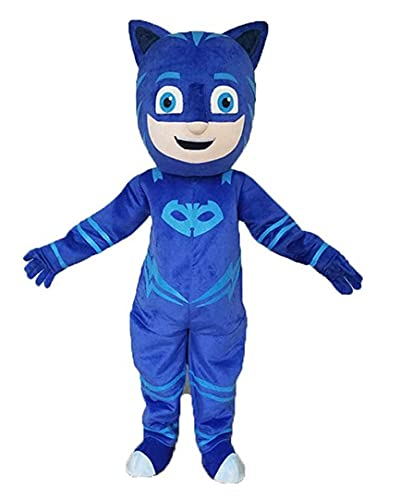 """Full Body Mascot Costume Compatile with Blue Catboy Adult Size for Men & Women Height 5'11"""" to 6'3"""" with Built-in Fan Inside The Head"""
