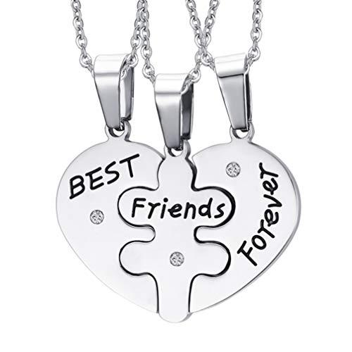 Happyyami 3 pezzi Collana Puzzle Cuore in Acciaio Inossidabile con scritta Best Friend Forever Collana Incisa amicizia Set per amici