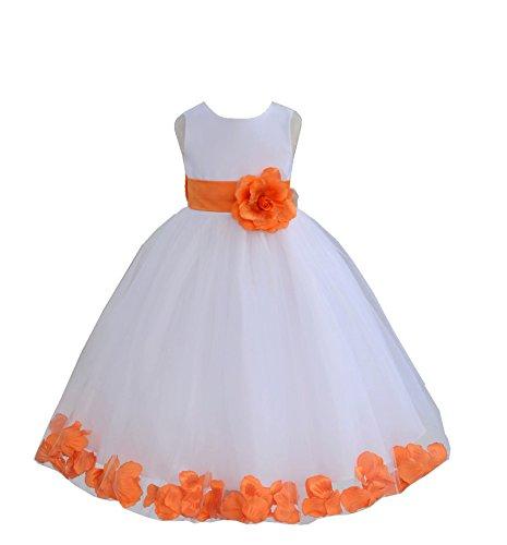 ekidsbridal White Floral Rose Petals Flower Girl Dress Birthday Girl Dress Junior Flower Girl Dresses 302s 2