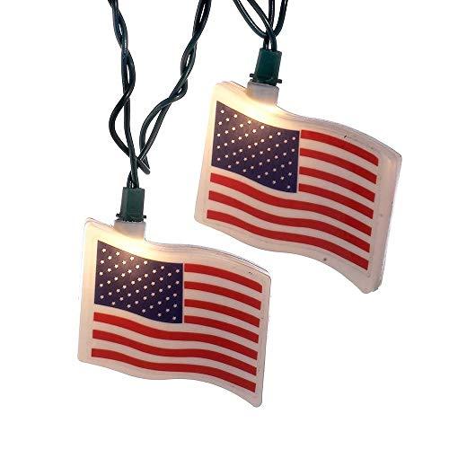 Unknown1 10-Light USA Flag Light Set Multi Color Plastic