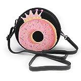 Bolso cruzado redondo para mujer con cremallera de donut rosa bolsa de hombro de cuero suave con forma de círculo, cartera y bolsos de mano
