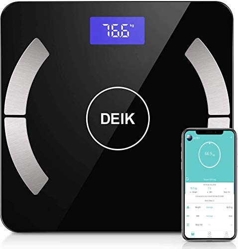 Deik Bilancia Pesa Persona Digitale, Bluetooth Bilancia Pesapersone con Display Retroilluminato, per iOS&Android Intelligente con Analisi Composizione Corporea Inclusi Peso, Grasso, Acqua, BMI, ECC