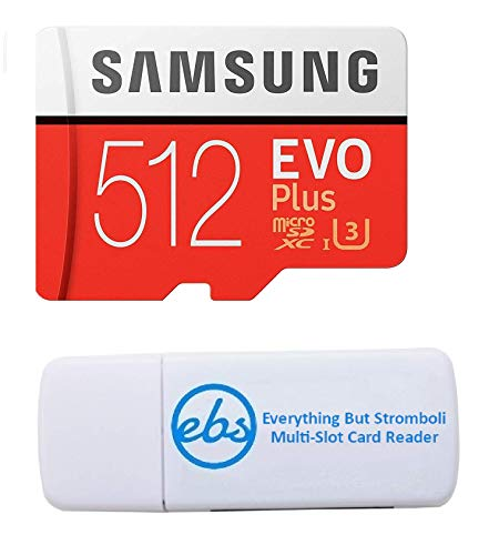 Samsung Evo Plus 512GB Micro SDXC Memory Card Class 10 for Smartphones Works with LG G8X ThinQ, LG Stylo 6 Phone (MB-MC512) Bundle with (1) Everything But Stromboli MicroSD & SD Card Reader