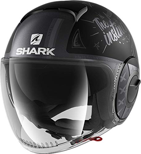 Casco moto Shark SHARK NANO TRIBUTE Mat RM KAS, Nero/Grigio, L