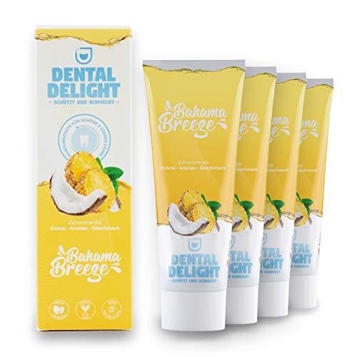 DENTAL DELIGHT Bahama Breeze 4er-Pack Zahncreme Ananas-Kokos Vegan Klimaneutral Mikroplastik-frei