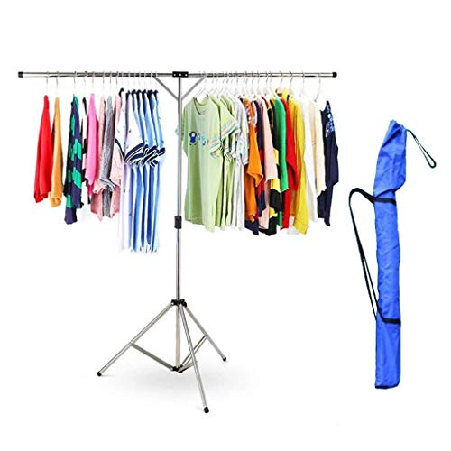 ZJDK Airer- Clothes Airer, Garment Rack Telescoping 49.25~72.9in, Folding Stainless Steel Laundry Drying Rack Adjustable Tripod (with Storage Bag)