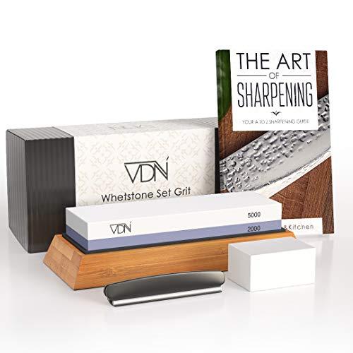 Luxe Dubbelzijdige Wetsteen Slijpsteen set 2000 5000 van Edelkorund (18x6x3 CM) met E-book voor slijpen van messen e.d. van VDN