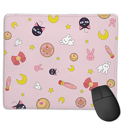 Sailor Moon Mouse Pad Kawaii Anime Mousepad Pink Gaming Mouse Mat Non-Slip Rubber Base Computer Laptop Desk Pad Accessories 9.85 X 11.8 inch
