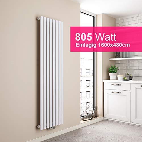 EMKE Heizkörper Design-Heizkörper Weiß Vertikal 1600x480mm Heizung Mittelanschluss Einreihig, 805W