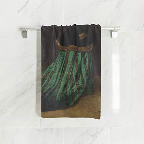 WTZYXS Hand Handdoeken, Camille Of De Vrouw met Groene Jurk Monet Art Absorberende Duurzame Handdoeken voor Thuis en Buiten Gebruik 12