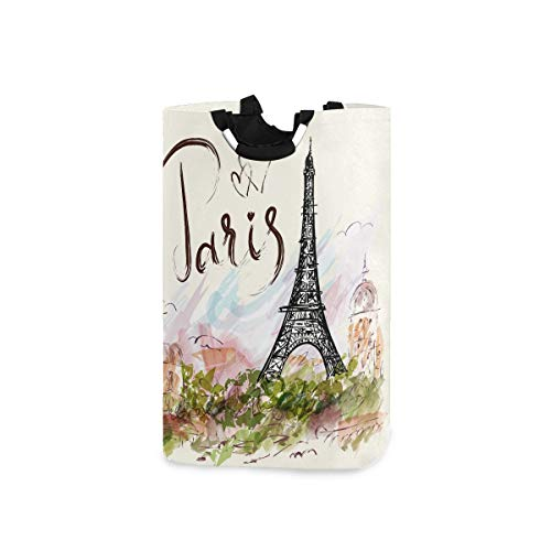 AUUXVA YVONAU Laundry Basket Love Paris Eiffel Tower Bird Laundry Hamper with Handles Large Storage Clothes Toys Collapsible Laundry Bag for Bathroom Office Bedroom