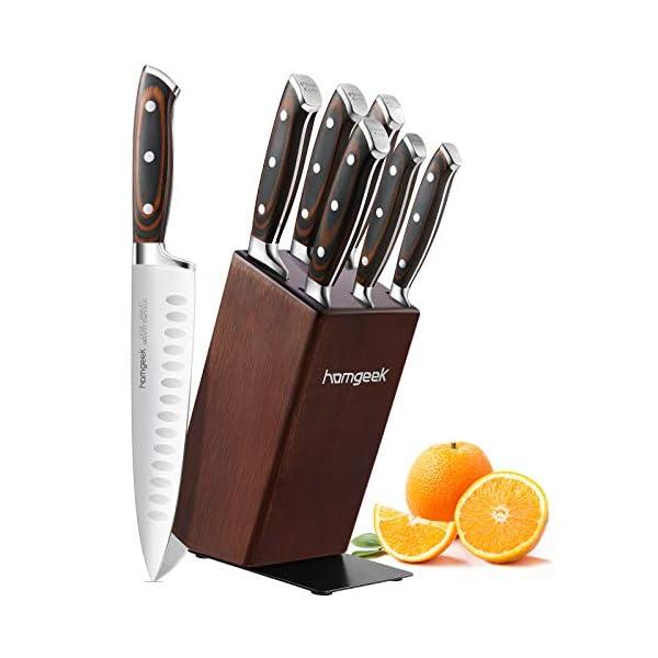 Cuchillos Cocina 7 Piezas, homgeek Juegos de Cuchillos Profesionales con Cuchillo Para Deshuesar, Hecho de Hoja de Acero…