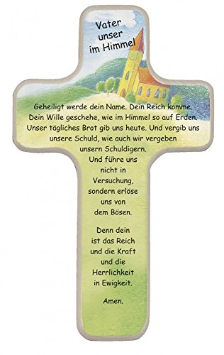 Kinderkreuz Vater unser im Himmel, Wandkreuz aus Holz, 18cm