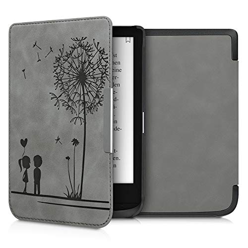 kwmobile Funda Compatible con Pocketbook Touch Lux 4/Lux 5/Touch HD 3/Color (2020) - Carcasa para e-Reader de Piel sintética - Gris