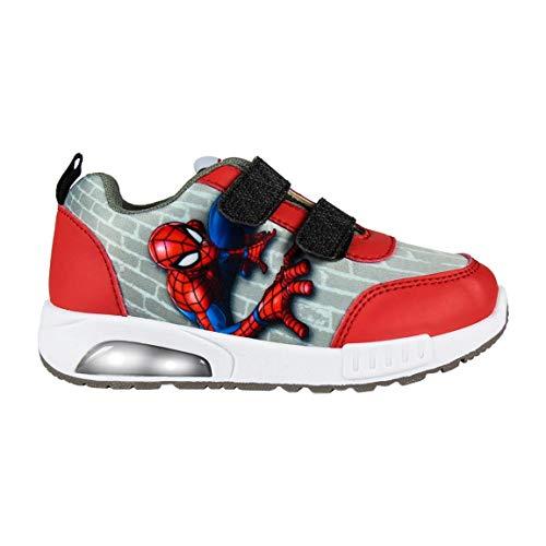 Marvel Spiderman Zapatos Deportivas para Niños, Zapatillas Deportivas Ligeras, Divertido Diseño con Luces, Cierre de Velcro Fácil, Regalo para Niños! Tallas EU 25 a 32 (Gris, 27)