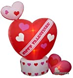 BZB Goods 8 Foot Animated Inflatable Valentine's Hearts w/Top Heart Rotating - Romantic Valentines Gift for Couples, Idea, Blow Up Lighted Decor Indoor Outdoor Holiday Art Decor Decorations