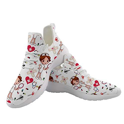 POLERO Nurse Zapatillas de Deporte para Mujer Zapatos Deportivos Zapatos con Cordones para Mujer Zapatos para Caminar livianos Zapatos de Tenis Zapatos para Correr de Malla para Mujer 39 UE