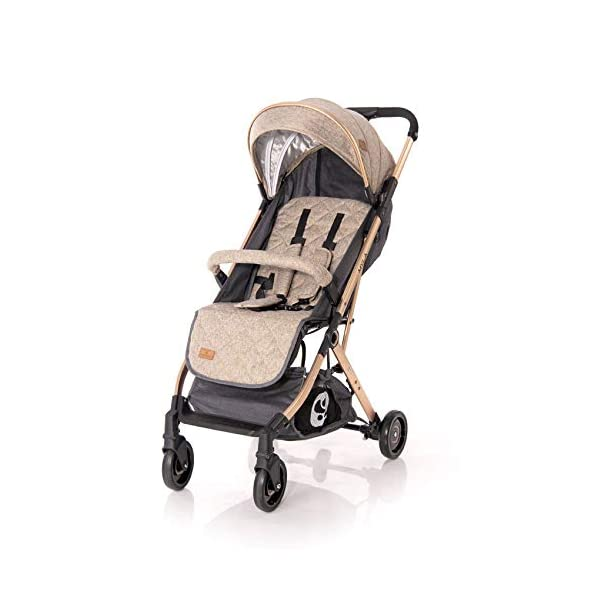 Lorelli Myla Pushchair Aluminium Frame Basket footmuff Foldable with Handle, Colour:Beige Lorelli stroller for children from birth, light aluminium frame sun canopy, adjustable back and footrest, 5-point safety belt innovative folding system with additional handle, foldable with one hand, carrying bag for transport 3