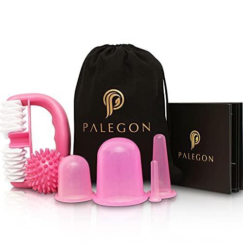 Palegon® Anti Cellulite, Anti Aging Schröpfen Set - 4x Cellulite Saugglocke, 1x Cellulite Roller, 1x Massageball - inklusive gratis Gebrauchsanweisung für eine kinderleichte Anwendung