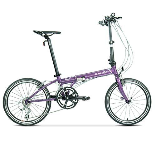 Cross- & Trekkingräder Fahrrad-Straßen-faltendes Fahrrad Unisex 20-Zoll-Rad Ultra helles Reise tragbares Fahrrad (Color : Purple, Size : 150 * 32 * 107cm)