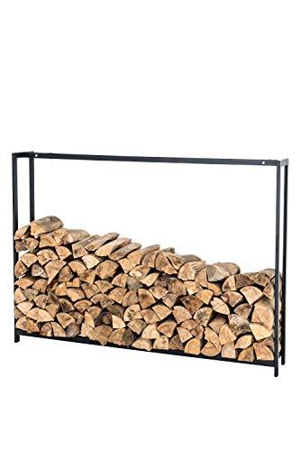 CLP Kaminholzregal/Kaminholzständer Forest, rostbeständige, stabile Konstruktion, Edelstahl, Holzlager, modernes Holzregal mit Bodenschonern, Farbe:schwarz-matt, Größe:150x170 cm