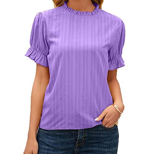 Jersey Informal De Primavera Y Verano para Mujer, Camiseta De Manga Corta De Manga Corta con Temperamento De Color SóLido Y Cuello Redondo Ajustado para Mujer