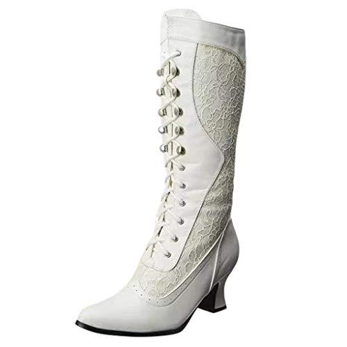 Winterreitstiefel Stiefel Damen High Heeled Fashion Lace Spitze Zehen Schuhe Seite Reißverschluss Mid-Tube Stiefel (38,Weiß)