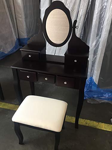SQUARE FURNITURE Wood Make-Up Vanity Table Set (Espresso)