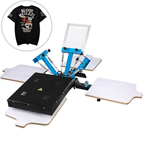 VEVOR Screen Printing Press 3 Color 1 Station Screen Printing Machine with Dryer Single Wheel Silk...