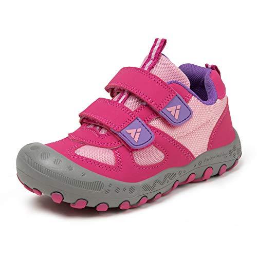 PAMRAY Kinderschuhe Turnschuhe Jungen Mädchen Trekking Wanderschuhe rutschfest Laufschuhe Running Sneaker Sports Rosa 24 EU