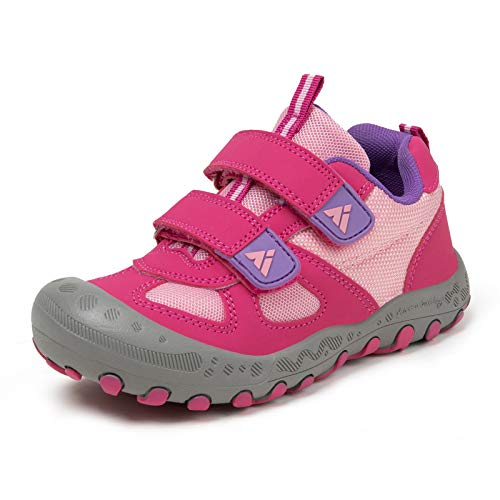 Zapatos de Bambas Niños Niña Zapatillas Senderismo Antideslizante Caminando Trekking Sneakers Rosado 27 EU