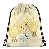 Bolsa de deporte con cordón para gimnasio, cincha de viaje, para mujeres, hombres, niños, diseño abstracto de chi con patrón de cuadros mariposa gigante huevo divertido