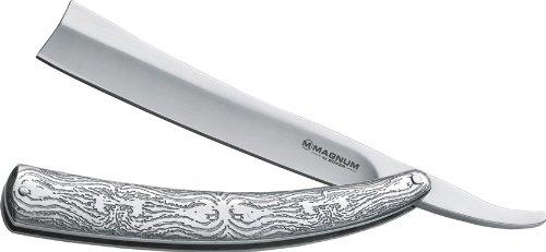Boker Magnum 01LG242 Men's Fleet Street Razor Pocket Knife with 4 7/8 in. 440 Stainless Steel Blade, Silver