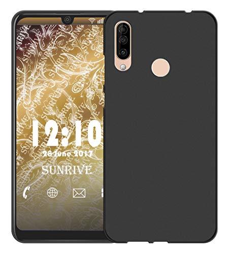 Sunrive Für WIKO View 3 PRO Hülle Silikon, Handyhülle matt Schutzhülle Etui 3D Hülle Backcover für WIKO View 3 PRO(W1 schwarz) MEHRWEG+Gratis Universal Eingabestift
