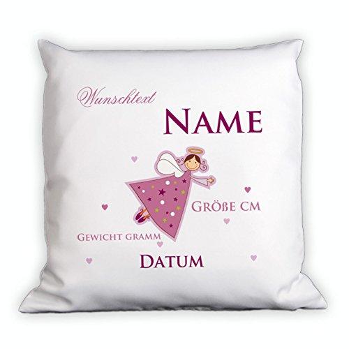 Striefchen® Kissen für Kinder mit Namen - Schutzengel - zur Geburt oder Taufe Rosa