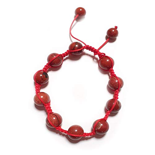 Desconocido Bracciale diaspro rosso sfere regolabile Shambala