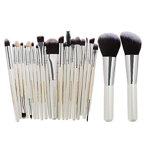 22pcs SET Pinceaux Kit synthétique Maquillage cheveux Brosses fard à paupières Fondation Brosses poudre Outils multifonctions Beauté - Blanc