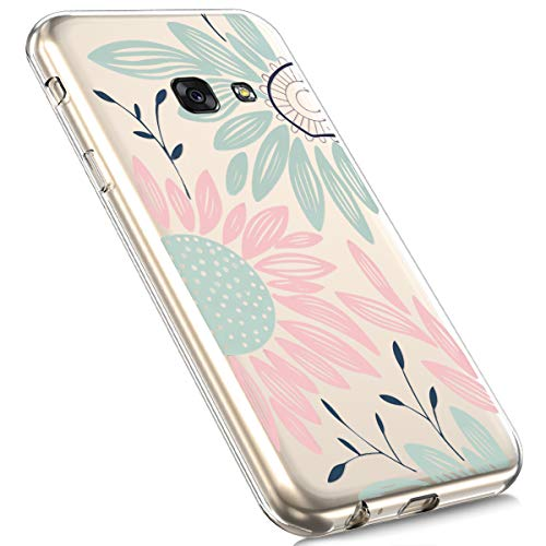 MoreChioce MoreChioce kompatibel mit Samsung Galaxy A3 2017 Hülle, Galaxy A3 2017 Hülle Silikon Transparent, Niedlich Strass Durchsichtig Handyhülle TPU Kristall Flexible Bumper [Chrysantheme]