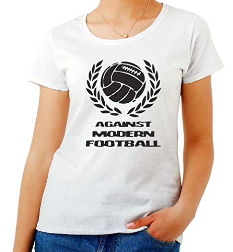 T-Shirt para Las Mujeres Blanca TUM0151 Against Modern Football