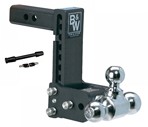 B&W Hitches TS10049B Tow & Stow 7'-7.5' Adjustable Tri Ball Mount Receiver Hitch and 5/8' Black Receiver Hitch Lock Bundle