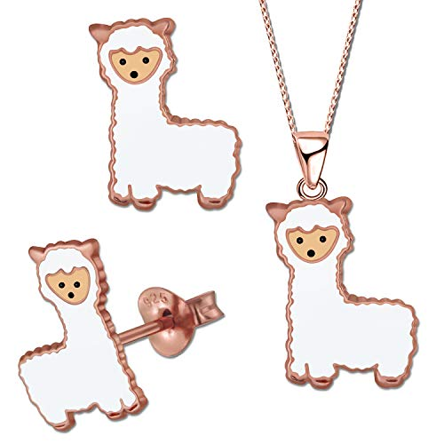 SET Kinder Ohrringe Halskette mit Anhänger 925 Sterling Silber Alpaka Lama Mädchen Ohrstecker Rosegold (K724 + K679 + Kette 40)