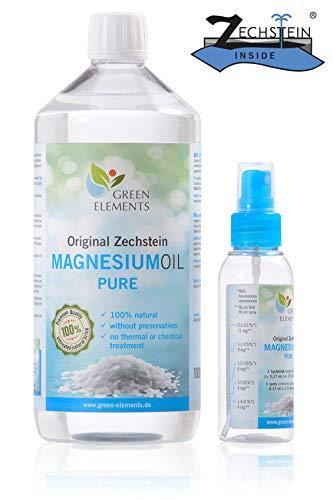 Zechstein Magnesium-Öl PUR aus Deutscher Abfüllung – Set aus 1000 ml Natursole + 100 ml Sprühflasche