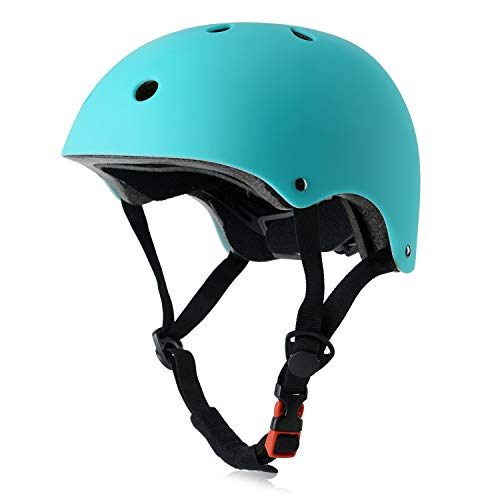 Youth Skateboard Bike Helmet for Girl and Boy, Lightweight Adjustable, Multi-Sport for Bicycle Cycling Skate Scooter (Aqua, Medium)