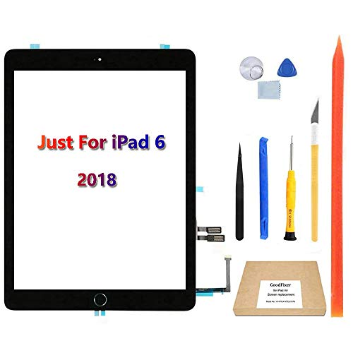 GoodFixer Digitizer for iPad 6 6th Gen Touch Screen Replacement 2018 9.7',Only for 6th Generation A1893 A1954, with Home Button, Full Repair Kit, Camera Holder, Pre-Installed Adhesive Stickers