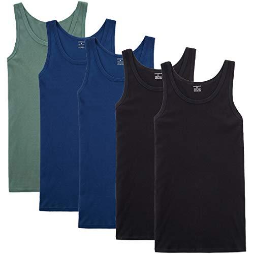 YOUCHAN Unterhemd Herren Tank Top 5er Pack Feinripp Muskelshirts Baumwolle alle Größen und Farben-Schwarz Marine Olive-XL