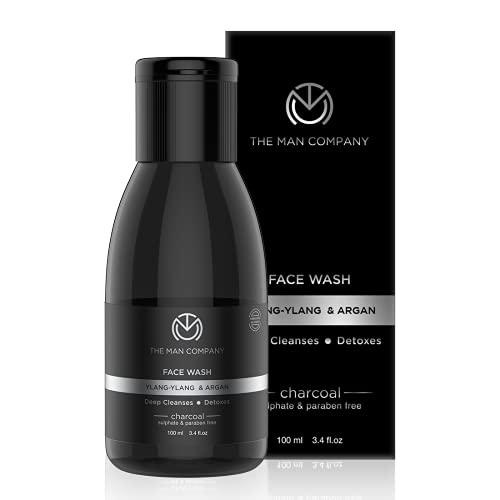 The Man Company Activated Charcoal Face Wash for Men | Ylang Ylang & Argan Essential Oils | Anti Pollution, Acne Oil Control | Unclog Pores | Deep Cleansing | Blackheads Removal | All Skin Types | 100ml