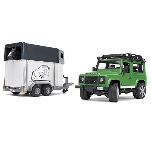 Bruder Land Rover Defender Station Wagon met Paardentrailer en Paard