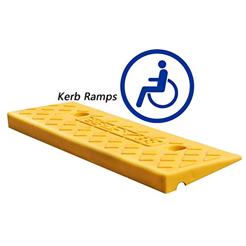 Baiying Kerb Ramp Wheelchair Pedal Motorcycle Plastic Portable Heavy Threshold Ramp Splicable Load-Bearing, 6 Sizes (Color : Yellow, Size : 46.5X14.7X3CM)